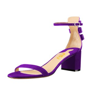 Women's Purple Suede Chunky Heel Ankle Strap Sandals