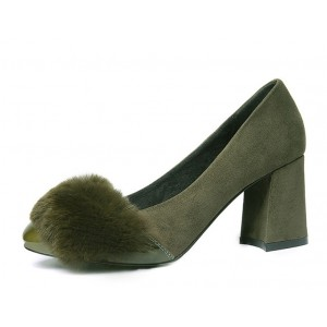 Olive Fur Heels Suede and Patent Leather Block Heel Office Pumps