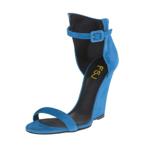 Cobalt Blue Shoes Open Toe Ankle Strap Wedge Sandals for Office Ladies