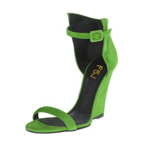 Women's Green Ankle Strap Wedge Sandals