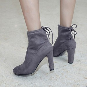 Grey Chunky Heel Boots Round Toe Suede Vintage Ankle Booties