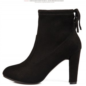 Women's Black Almond Toe Suede Chunky Heel Boots