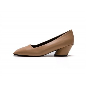 Women's Khaki Square Toe Chunky  Commuting Vintage Heels