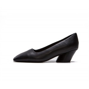 Women's Black Square Toe Chunky  Commuting Vintage Heels Shoes