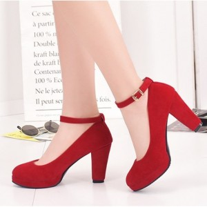 Red Ankle Strap Heels Suede Chunky Heel Pumps