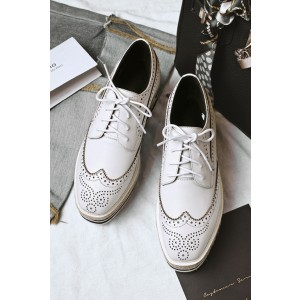 Women's Oxfords White Hollow Out Lace Up Wedge Heels Shoes