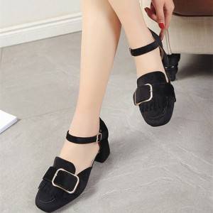 Black Vintage Heels Square Toe Chunky Heels Pumps with Buckle