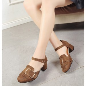 Brown Vintage Heels Fringe Square Toe Suede Shoes Chunky Heel Pumps