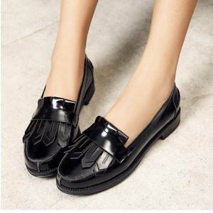 Women's Black Tassels Vintage Comfortable Flats shoes