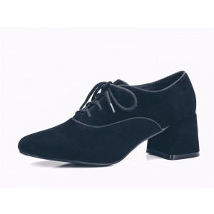 Women's Navy Suede Pointed Toe Chunky Heels Vintage Shoes