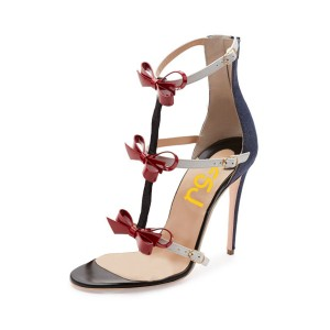 Women's Black&Red Bow T-Strap Sandals