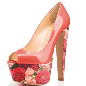 Red Floral Heels Peep Toe Patent Leather Chunky Heels Platform Pumps