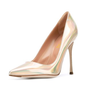 Gold Stiletto Heels Glossy Patent Leather Pointed Toe Office Heels