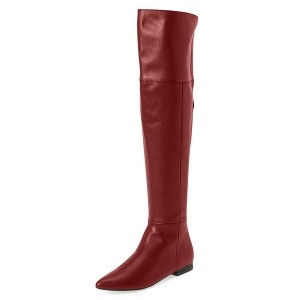 Women's Coral Red Commuting Over-The-Knee Comfortable Flats Boots