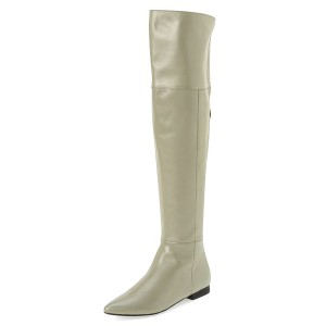 Women's Beige Over-The-Knee Boots Comfortable Flats