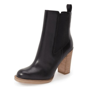 Black Chunky Heel Boots Round Toe Ankle Boots for Work