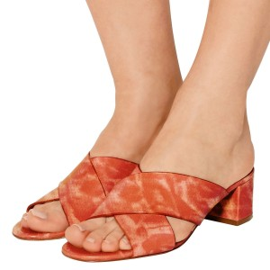 Women's Orange Rose Printed Crossed Strap Slippers Chunky Heels Sandals
