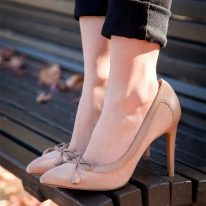 3 inch Heel Blush Bow Heels Pointy Toe Stiletto Heel Pumps
