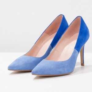 3 Inch Heels Blue Stiletto Heels Stitching color Office Shoes