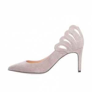 3 inch Heels Beige Hollow out Stiletto Heels Pointy Toe Pumps