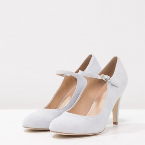3 inch Heels Light Grey Mary Jane Shoes Round Toe Pumps