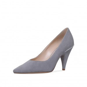 3 inch Heels Grey Office Shoes Pointy Toe Cone Heel Pumps