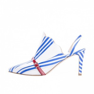 3 inch Heels Royal Blue Stripes Round Toe Stilettos Slingback Pumps