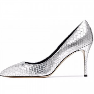 3 inch Heels Silver Python Pointy Toe Stiletto Heels Pumps