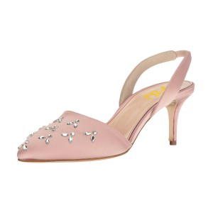Pink Almond Toe Rhinestone Stiletto Heel Slingback Wedding Pumps