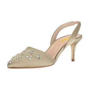 Women's Champagne Pointy Toe Rhinestone Stiletto Heel Slingback Pumps
