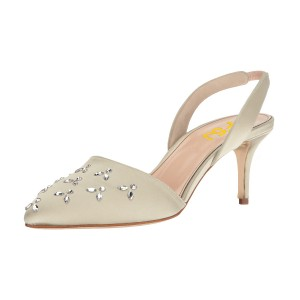 Women's Beige Pointy Toe Rhinestone Stiletto Heel Slingback Pumps