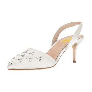 Women's White Pointy Toe Rhinestone Stiletto Heel Slingback Pumps