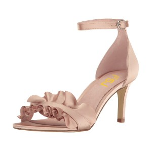 Women's Blush Ruffle Stiletto Heel Ankle Strap Sandals for Wedding