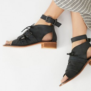 Black Ankle Strap Buckles Block Heel Sandals