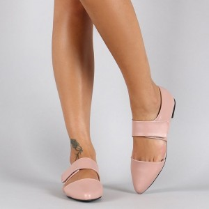 Pink Mary Jane Shoes Pointy Toe Flats Comfortable Shoes