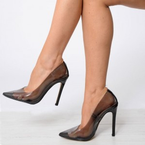 Black PVC Clear Pumps Pointy Toe Stiletto Heels Office Shoes