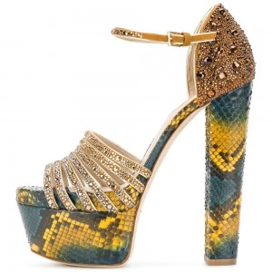 Yellow Green Python Rhinestone Chunky Heel Ankle Strap Sandals
