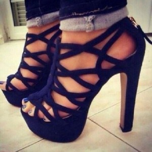 Navy Strappy Sandals Chunky Heel with Platform US Size 4-15
