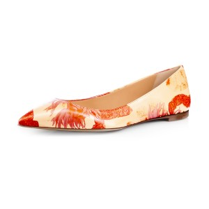 Women's Orange Floral Pointed Toe Comfortable Flats