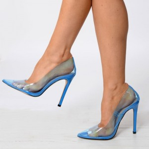 Blue See Through Clear Pumps PVC Pointy Toe Stiletto Heel Pumps