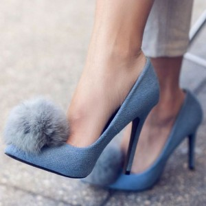 Blue Jean Heels Pointy Toe Pom Pom Stiletto Heel Denim Pumps