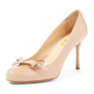 4 inch Heels Blush Round Toe Stiletto Heels Pumps With Bow