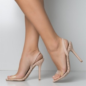 Nude and Clear Slingback Heels Open Toe Stiletto Heel Studs Shoes