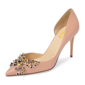4 inch Heels Blush Stiletto Heels Pointy Toe Pumps with Rivets