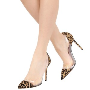Leopard Print Heels Pointy Toe Clear and Calfhair Stiletto Heel Pumps