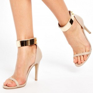 Nude and Gold Vegan Leather Rivets Ankle Strap Sandals