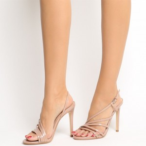 Nude Patent Leather Office Sandals Open Toe Dressy Stiletto Heels