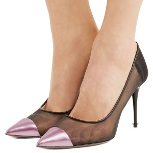 4 inch Heels Pink Pointy Toe Black Mush Stiletto Heel Pumps