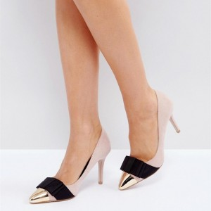 4 inch Heels Pink Pointy Toe Stiletto Heels Suede Pumps With Bow