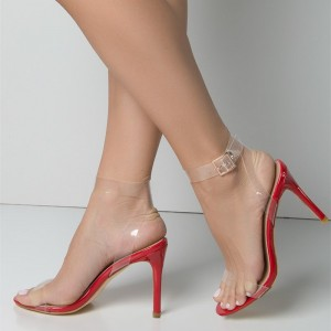 4 inch heels Red Clear Heels Open Toe Slingback Sandals